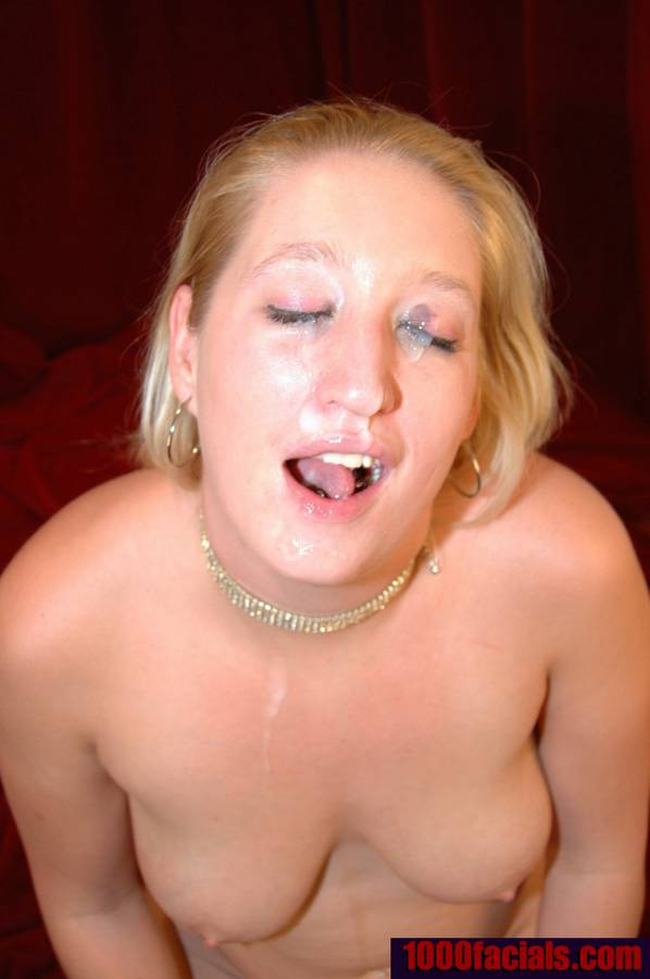 Pretty blue eyes cum facial